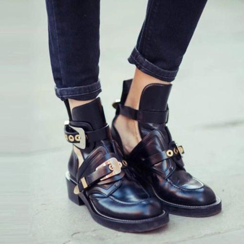 Women's buckle strap round toe boots PU ankle boots