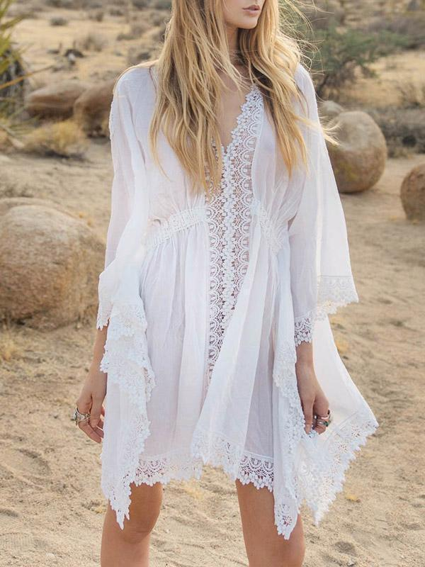 Bohemia V-neck Batwing Sleeves Cover-Ups Tops