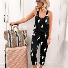 EBUYTIDE Chic Print Sleeveless Drawstring Waist Lounge Jumpsuit