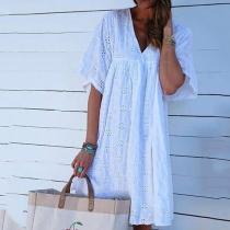 V-Neck Plain Holiday Midi Dress