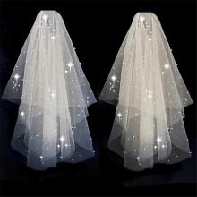 Bling Bling Two-Layer Bridal Short Wedding Veil  Shiny Sequined Glitter White Champagne Bridal Mesh Veil Metal Comb Elbow Length