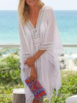 Asymmetric Lacy Split-joint Mini Kaftan Cover-up