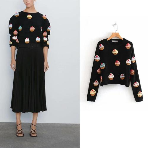 2020 Women Fashion Vintage Sweet Cake Appliques Short Style Knitted Sweater  O Neck Long Sleeve Stylish Pullovers Chic Tops