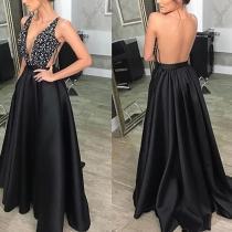 Sexy Deep V Off Shoulder Backless Sequin Dress
