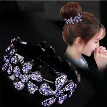1PC Rhinestone Flower Hairpins Women Hair Clips Openwork Elegant Flowers Elegant Crystal Twist Round Barrette Hair Accessories