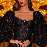 Sexy Sequined Long-Sleeved Slim-Tailed Evening Gown