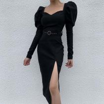 Fashionable Bubble Sleeve Metal Belt Decorates Dress