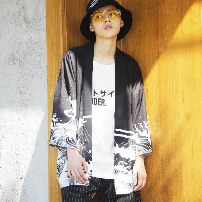 Hawaiian shirt for men short sleeve Japanese streetwear harajuku shirt Japan clothes kimono cardigan men Men's kimono