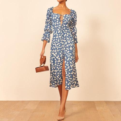 Fashion printed long sleeve dress with lotus root
