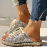 Sequins Lace-Up Special Slippers