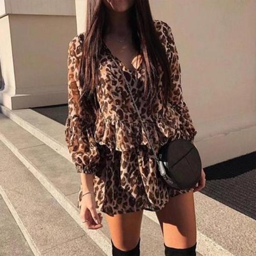 Sexy Leopard Print Long Sleeve Chiffon Dress