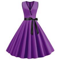 EBUYTIDE Womens Summer Dress 2020 Solid Color Purple V neck Sleeveless Knee-Length Pinup Vintage Dresses A-Line with Bow Belt