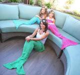 Soft Knitted Mermaid Tail Blanket Sleeping Bed Handmade Crochet Anti-Pilling Portable Yarn Blanket Birthday Gift