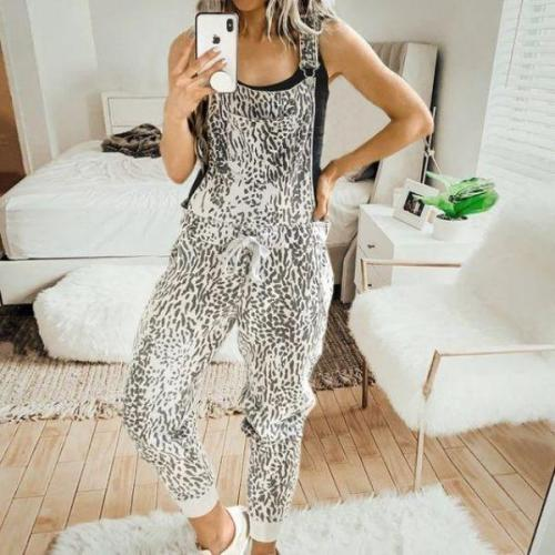 EBUYTIDE Chic Print Spaghetti Straps Sleeveless Lounge Jumpsuit