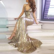 Fashion V-Neck Sequined Halter   Dress Maxi Dress