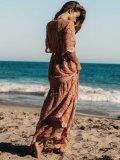 Lace V-neck Split-joint Cover-up Maxi Dress