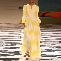 V Neck Long Lantern Sleeve Printed Elegant Maxi Dress