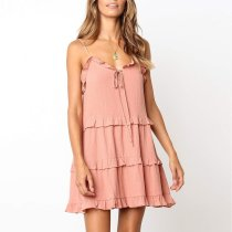 Solid Color Sling Band Bandwidth   Loose Leisure Holiday Dress