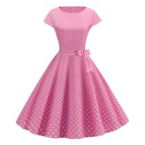 Pink Dot Summer Dress 2020 New Fashion Short Sleeve O-neck 50s 60s Retro Vintage Pinup Rockabilly Knee-Length Dress Casual Swing