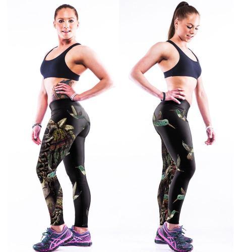 Low Waist Flower Print Skinny Elastic Youga Sport Leggings