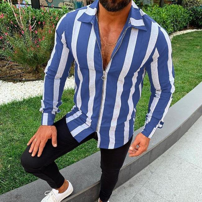 Fashion Long Sleeve Striped Zipper Casual Shirt