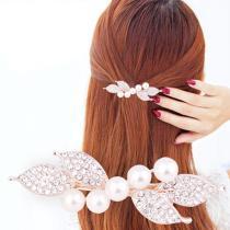 Chic Fashion Metal Leaf Shape Hair Clip Barrettes Rhinestone Crystal Pearl Hairpin Barrette Hair Claws Women Hair Styling Tool