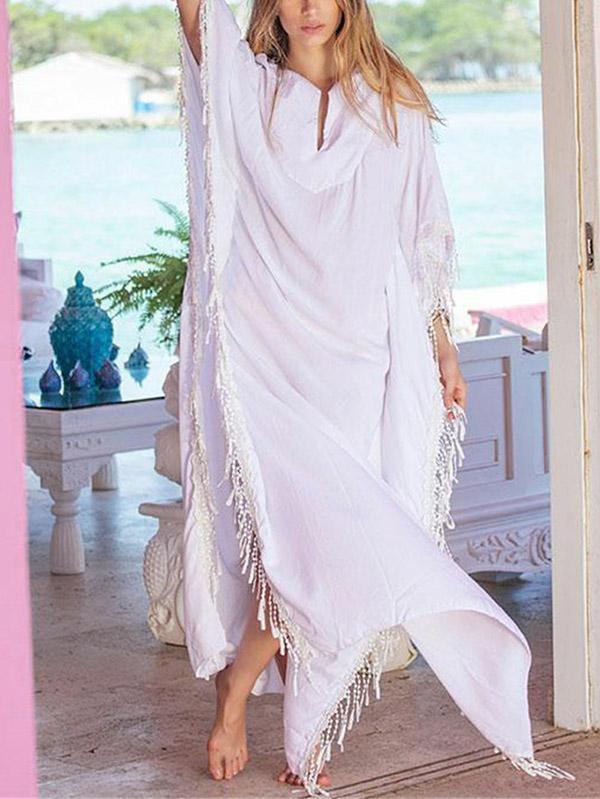 Tasseled Loose Plus Size Beach Cover-ups Swimwear