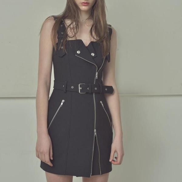 EBUYTIDE Fashion Women Street Vintage Gothic Style Spaghetti Strap Solid Punk Retro Plaid Irregular Zipper Straps Summer Dress
