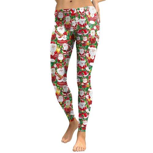 Digital Santa Claus Print Women Skinny Christmas Legging Pants