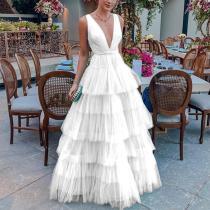 Summer V-Neck Sleeveless Solid Color Fashion Ruffle Dress