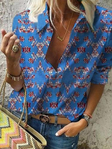 Bohemian Printed Color Middle Sleeve Loose Shirt