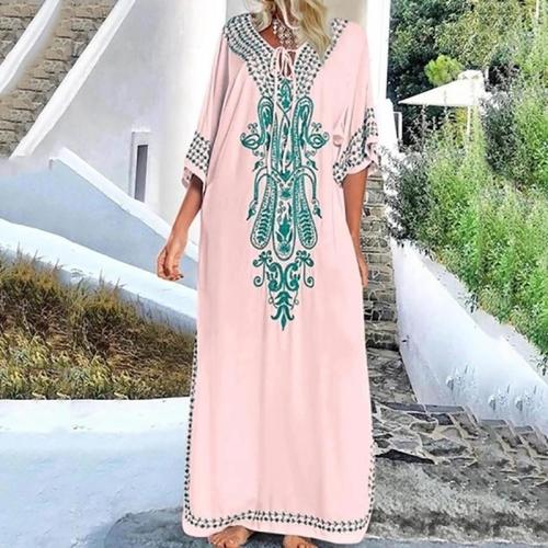 Casual V Neck Embroidery Maxi Dress