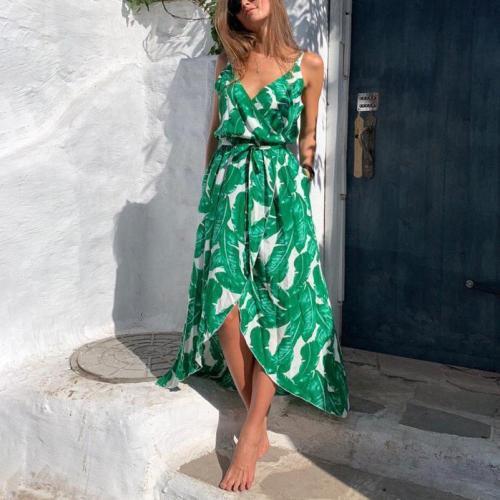 Leaf Chiffon Strap Sleeveless V-Neck Irregular Swing Dress