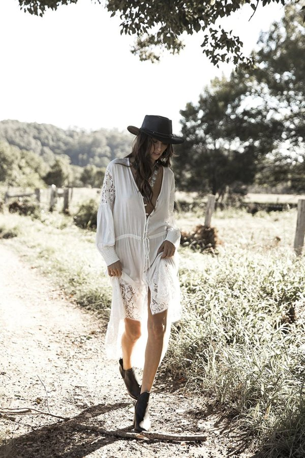 Beach Dress, Maxi Boho Dress, White Lace Abby