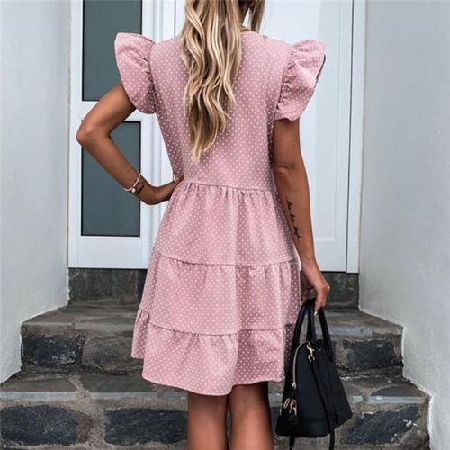 2020 Women New Summer Sundress Casual Ruffles Sleeves V-neck Dot Boho Party Vestidos Elegant Mini Dresses Fashion Vestidos