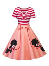 Pink 1950s Poodle Stripe Bow Dress