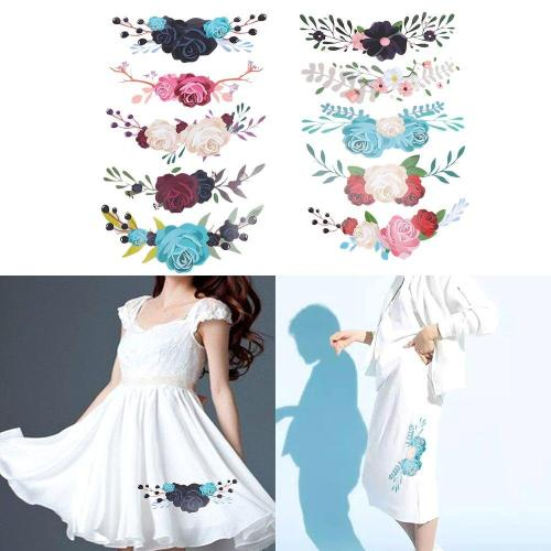 1/10 Pieces/Set Flower Patches T-shirt Press Heat Transfer Sticker Washable Iron On Appliques For T-shirt Dresses Decoration DIY