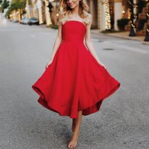 Sexy Solid Color Off-The-Shoulder Sleeveless Evening Dress