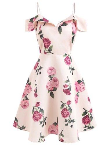 Pink 1950s Floral Spaghetti Strip Dress