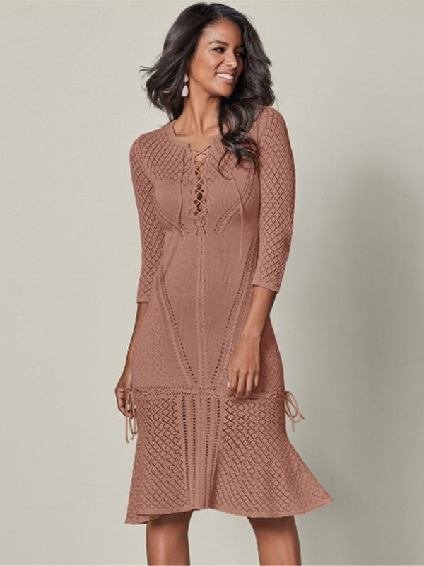 Bandage Crochet Hollow Midi Dresses