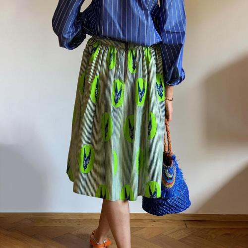 Fashion High-waist Ruched Printed Color Skirt RY58