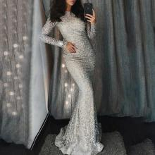 Fashion Round Neck Sequined Long Sleeve Evening Dress