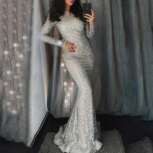 Fashion Round Neck Sequined Long Sleeve Evening Dress