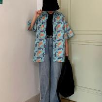 Fashion Fish Print Blouses Summer Female Short Sleeve Casual Loose Shirts