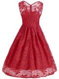 1950s Lace Floral Swing Dress