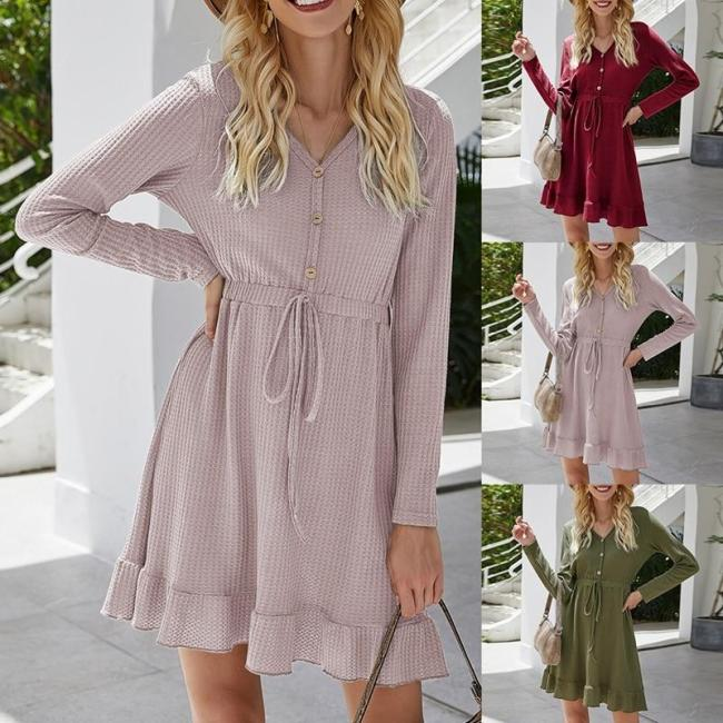 Women A-Line Dress Ruffle Tunic High Waist Party Long Sleeve V Neck Casual Button Dress