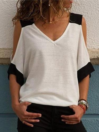 Fashion V Collar Short Sleeve T Shirt