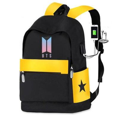 Black idol B T S Backpack Canvas Usb School Bags for Girls Teenagers Backpack Women Cute Korea Harajuku High College Schoolbag
