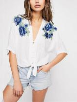 Sexy Floral Print T-Shirts Blouses
