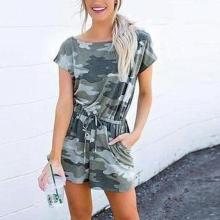 EBUYTIDE Simple Round Neck Short Sleeve Fitted Camouflage Jumpsuit
